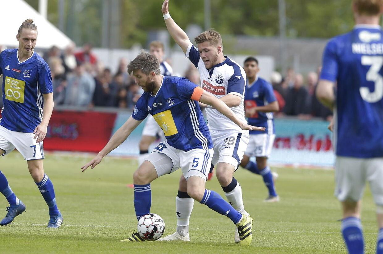Lyngby BK-veteranen Martin Ørnskov i aktion i Superliga-playoff-kampen mod Vendsyssel FF.