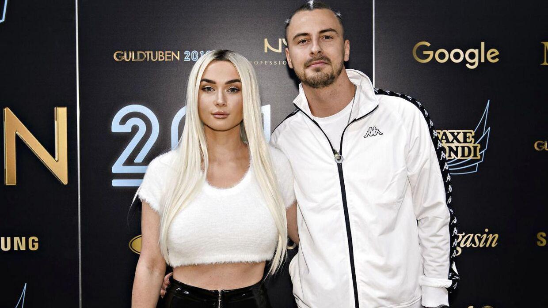 Faustix med sin kæreste, Irina Olsen, ved Guldtuben 2018. (Foto: Philip Davali/Ritzau Scanpix)