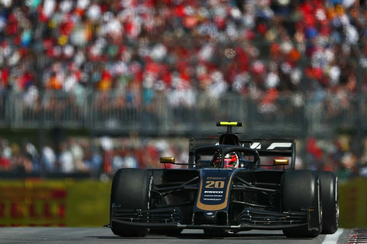 MONTREAL, QUEBEC - JUNE 09: Kevin Magnussen of Denmark driving the (20) Haas F1 Team VF-19 Ferrari on track during the F1 Grand Prix of Canada at Circuit Gilles Villeneuve on June 09, 2019 in Montreal, Canada. Dan Istitene/Getty Images/AFP == FOR NEWSPAPERS, INTERNET, TELCOS & TELEVISION USE ONLY ==