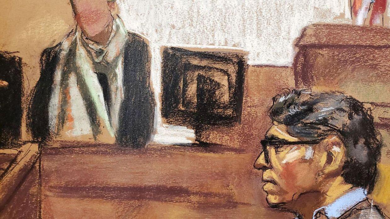 Her ses en tegning Keith Raniere, leder af sex-sekten, i retten. REUTERS/Jane Rosenberg NO RESALES.NO ARCHIVES.