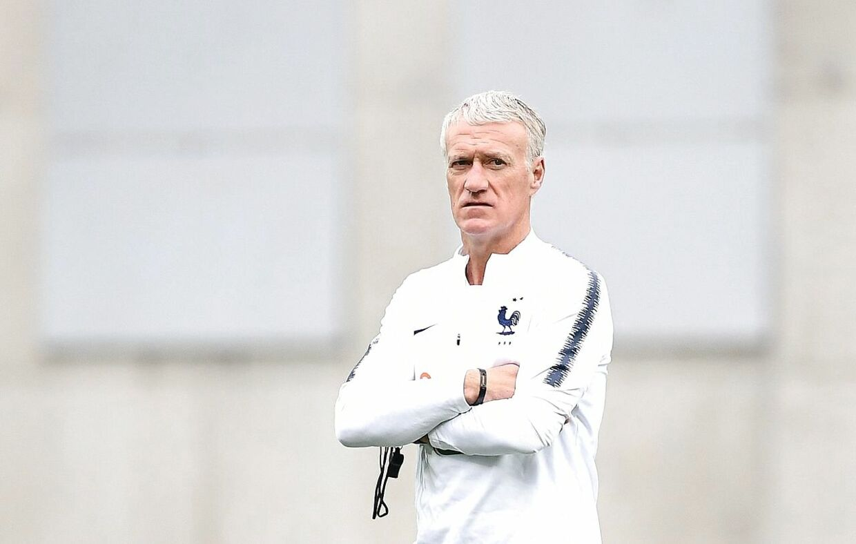 France's head coach Didier Deschamps looks at his players during a training session at the National stadium in Andorra La Vella, on June 10, 2019 on the eve of the UEFA Euro 2020 qualification football match between Andorra and France. (Photo by FRANCK FIFE / AFP)