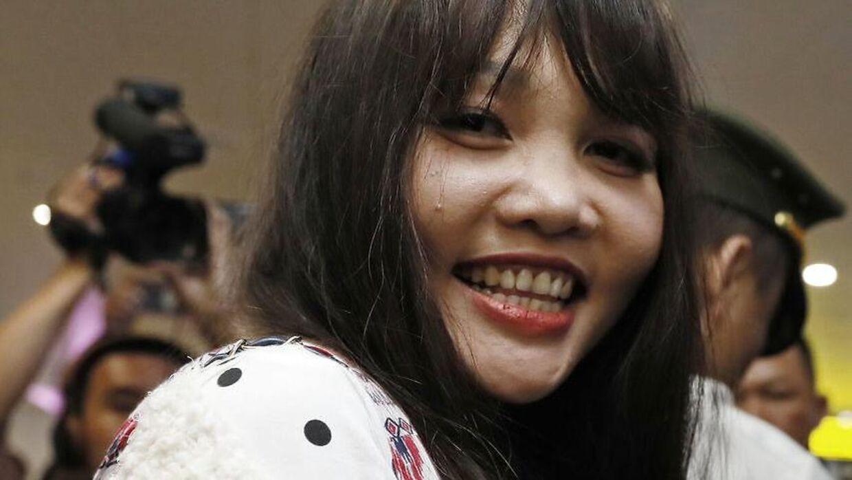 Den ene af de to kvinder, Doan Thi Huong, som slog Kim Jong Nam ihjel. Hun blev løsladt fra fængslet 3. maj i år.