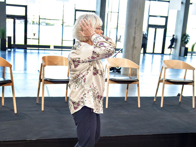 """Pia Kjærsgaard deltager i TV2 og TV2 News """"Højlunds Forsamlingshus"""" på Aalborg Universitet, onsdag den 29. maj 2019.. (Foto: Henning Bagger/Ritzau Scanpix)"""