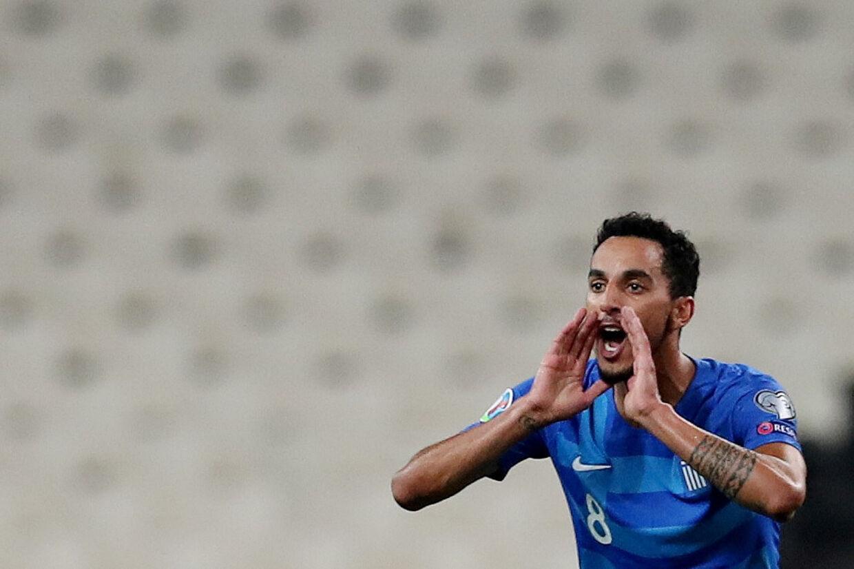 FC København-spilleren Carlos Zeca scorede forgæves for Grækenland, der tirsdag tabte 2-3 til Armenien på hjemmebane. Alkis Konstantinidis/Reuters