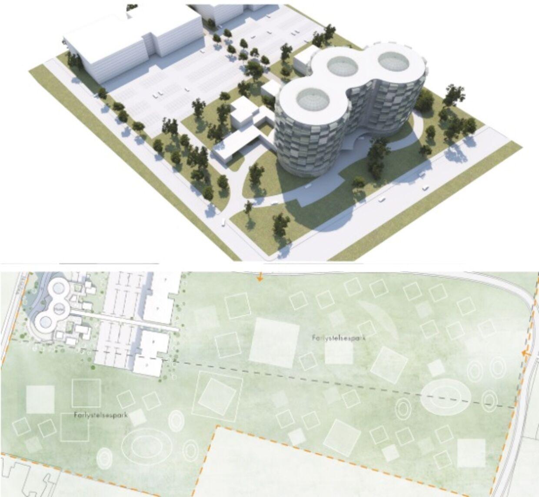 3D-tegning og plantegning over Billund Ø.