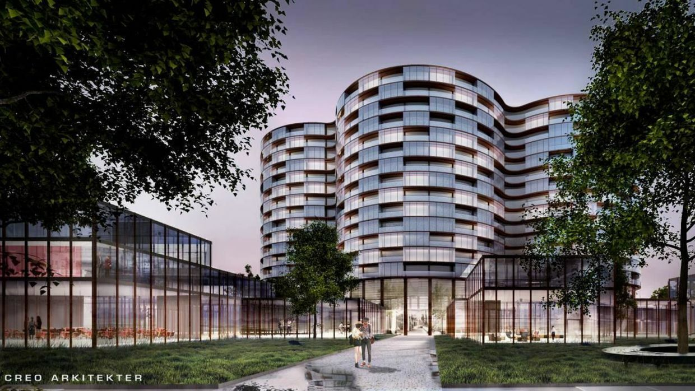 Illustration af det kommende hotel i Billund Ø set fra syd, hvorfra der bliver indgang til forlystelsespark og parkeringsanlæg længere mod syd.