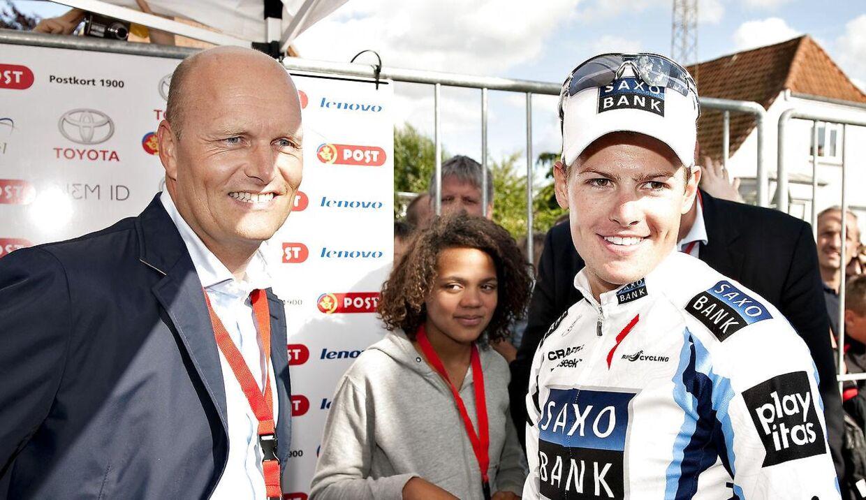 Bjarne Riis og Jakob Fuglsang under Danmark Rundt i 2009.