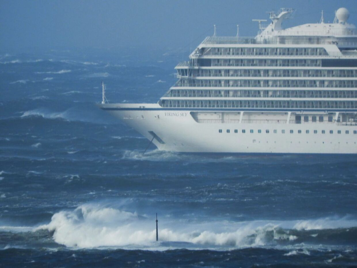 (FILES) In this file photo taken on March 23, 2019 the cruise ship Viking Sky is pictured near the west coast of Norway at Hustadvika near Romsdal. - What would happen if a cruise liner suddenly found itself without power in the middle of the Arctic? After narrowly averting a maritime disaster, Norway is mulling the safety of cruise ships in the Far North. (Photo by Frank Einar VATNE / NTB Scanpix / AFP) / Norway OUT
