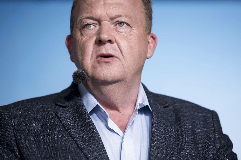 Lars Løkke Rasmussen (V) taler ved den officielle åbning af Folkemødet 2019 i Allinge på Bornholm torsdag den 13. juni 2019. (Foto: Mads Claus Rasmussen/Ritzau Scanpix)