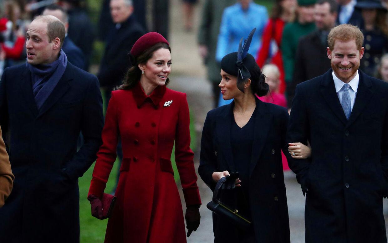 ARKIVFOTO af prins William, hertuginde Kate, hertuginde Meghan og prins Harry.