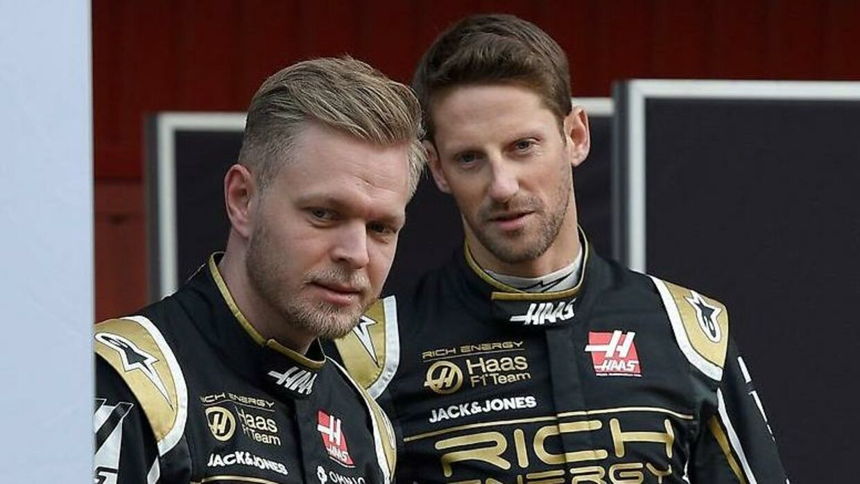 Kevin Magnussen (tv.) og Romain Grosjean.