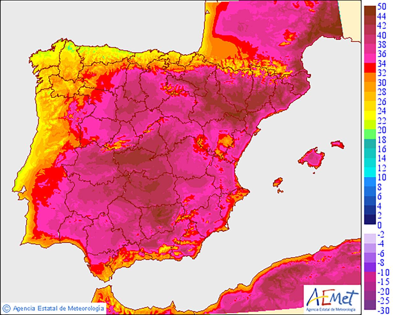 Dette er varmekortet fredag den 28. juni over Spanien, offentliggjort af landets meteorologiske institut. Til højre kan man se, hvilke farver, der indikerer hvilken temperatur.