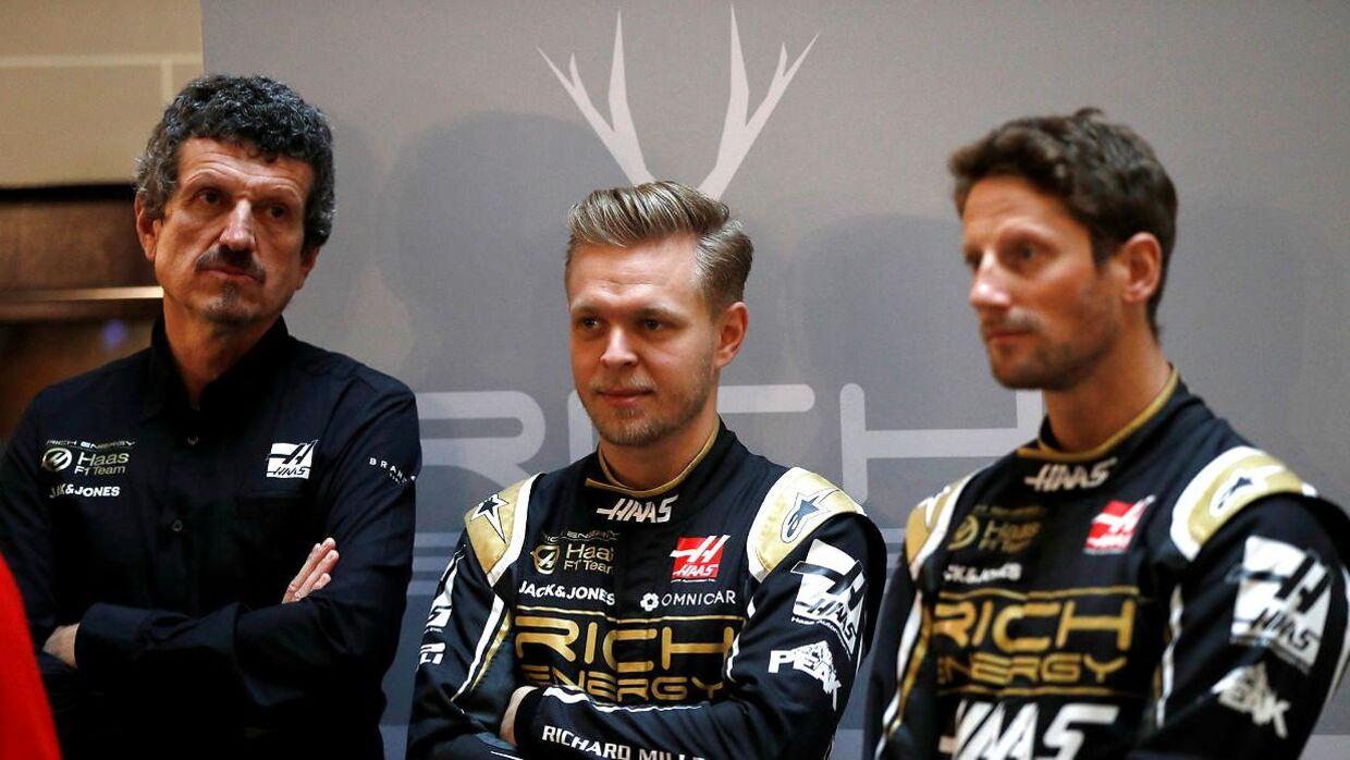 Kevin Magnussen, Romain Grosjean og Haas-boss Guenther Steiner.