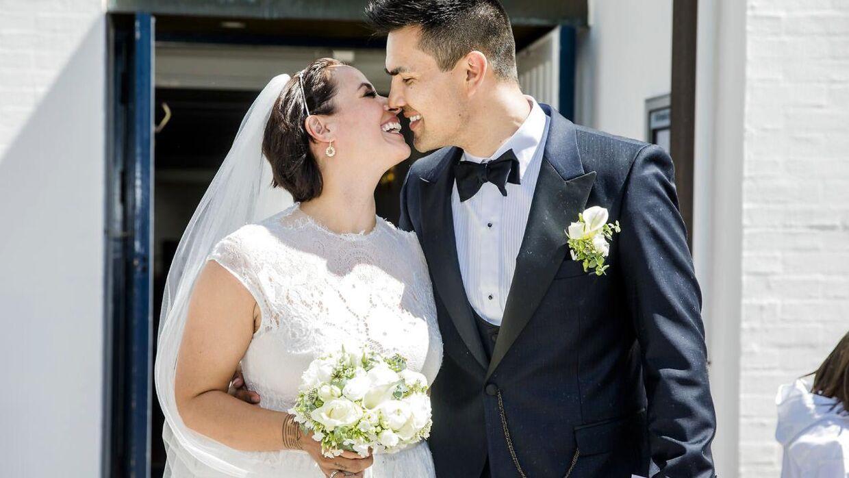 Sådan så det ud, da Julie Berthelsen præsenterede sin nye mand, Minik Dahl Høegh, for verden. (Foto: Nikolai Linares)