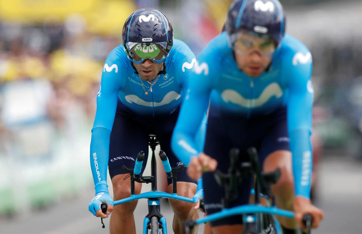 Cycling - Tour de France - The 27.6-km Stage 2 Team Time Trial from Brussels Royal Palace to Brussels Atomium - July 7, 2019 - Movistar Team rider Alejandro Valverde of Spain finishes. REUTERS/Christian Hartmann