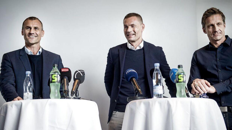 Ebbe Sand og Jan Bech Andersen og eks-sportsdirektør Troels Bech.