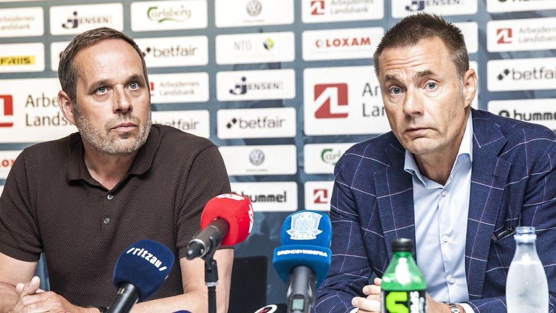Brøndby IF's bestyrelsesformand' Jan Bech Andersen' og ny fodbolddirektør Carsten V. Jensen afholder pressemøde om superligaklubbens nye direktion, på Brøndby Stadion onsdag den 10. juli 2019. (Foto: Ólafur Steinar Rye Gestsson/Ritzau Scanpix)