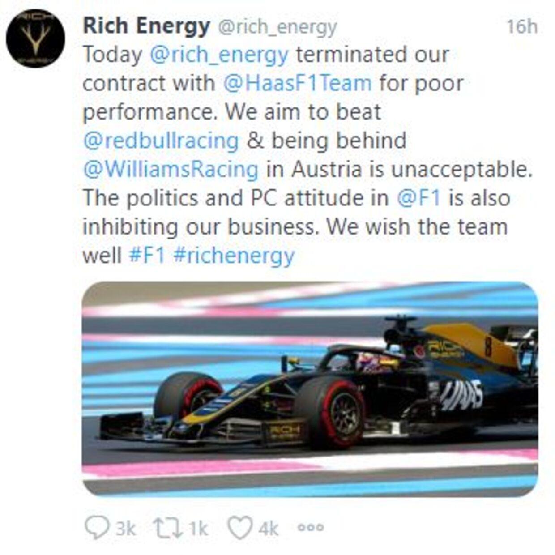 Det kontroversielle tweet fra Rich Energy.