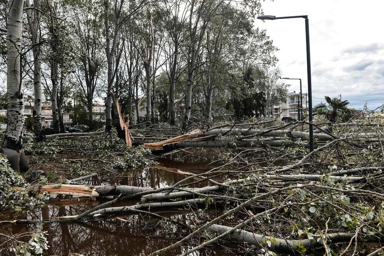 Stormen begyndte onsdag aften og fortsatte natten til torsdag. Seks turister er døde i forbindelse med den kraftige storm. (Photo by Sakis MITROLIDIS / AFP)