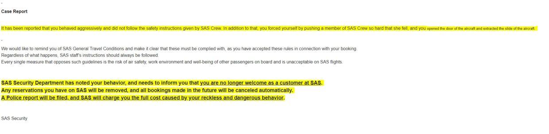 Et screenshot af den e-mail, som det danske par har modtaget fra SAS i kølvandet på hændelsen.