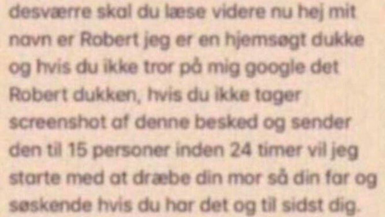 En del af den seneste besked, som Julie Jørgensen har modtaget.