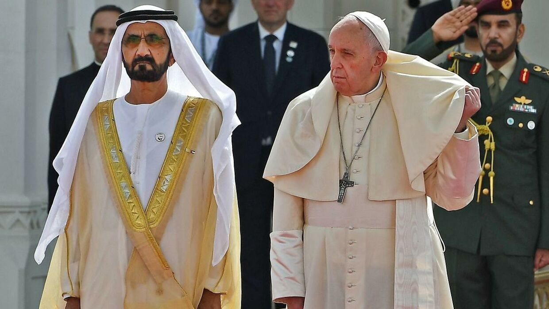 Pave Frans og sheiken mødtes i februar i år.