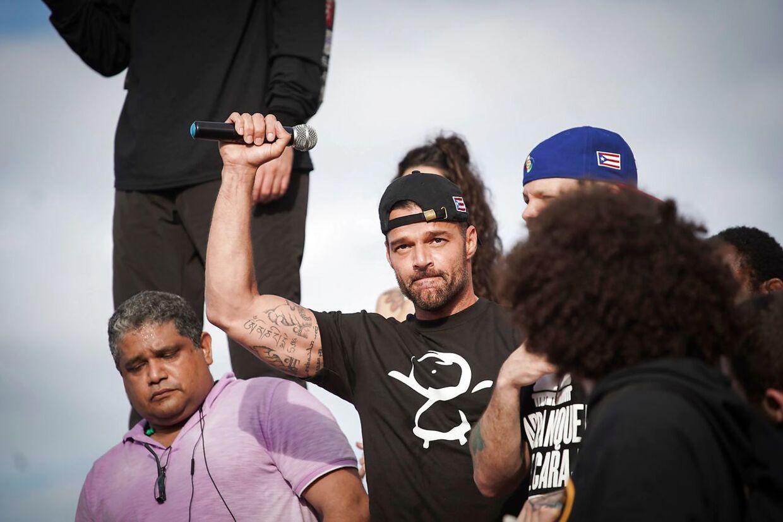Ricky Martin under en demonstration i San Juan, Puerto Rico den 17. juli 2019.