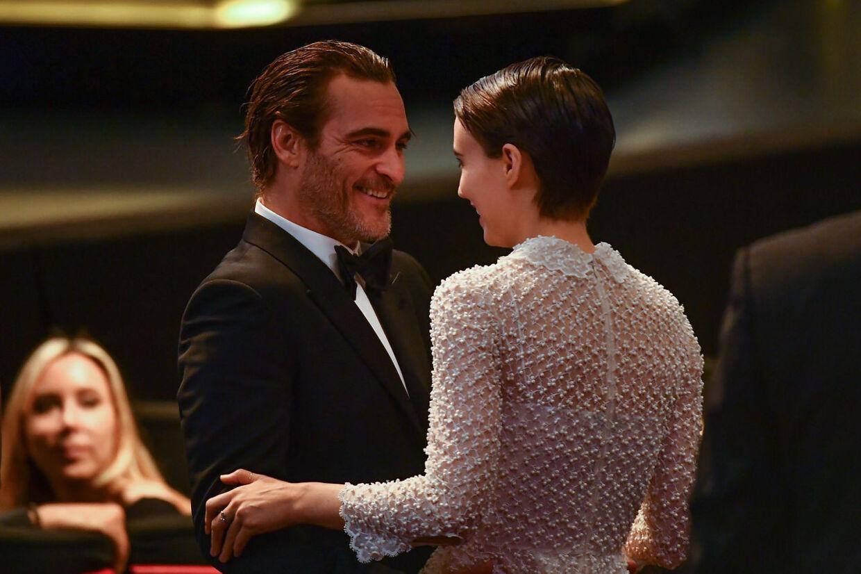 Joaquin Phoenix og Rooney Mara attend til Cannes Film Festival in Cannes, 2017.