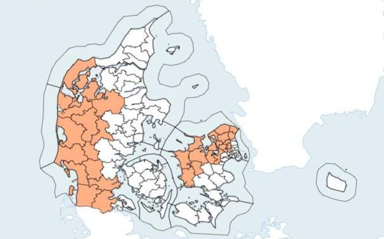 På kortet kan du se, hvor i Danmark hedebølgen rammer.