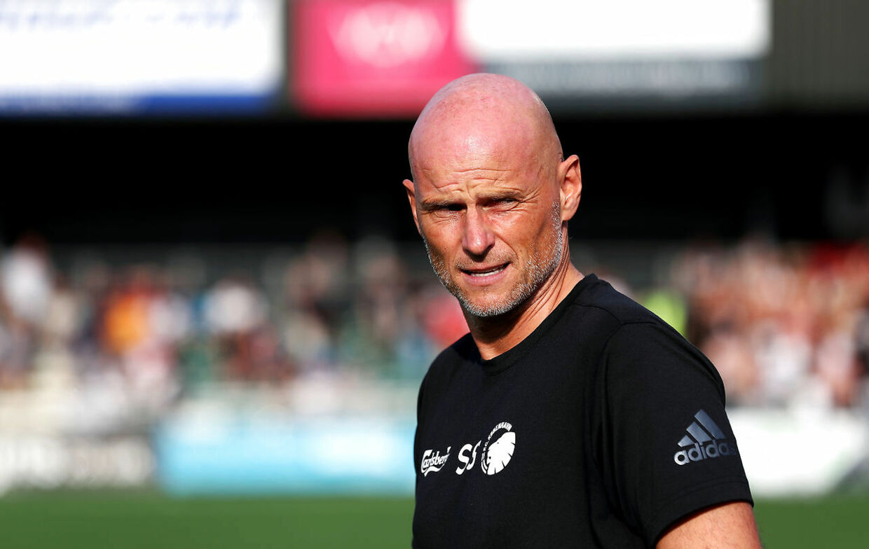 Copenhagen manager Ståle Solbakken during the UEFA Champions League second qualifying round first leg match at Park Hall Stadium, Oswestry. (Foto: Martin Rickett/Scanpix 2019)