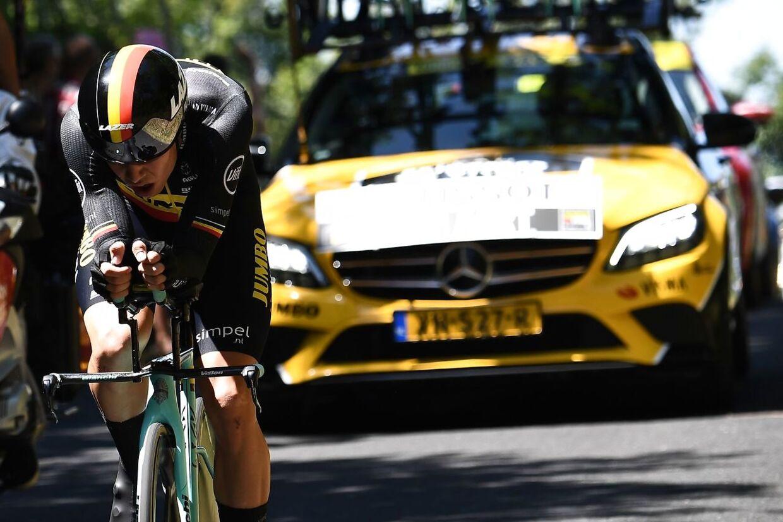 Wout van Aert på enkeltstarten, inden det gik galt.