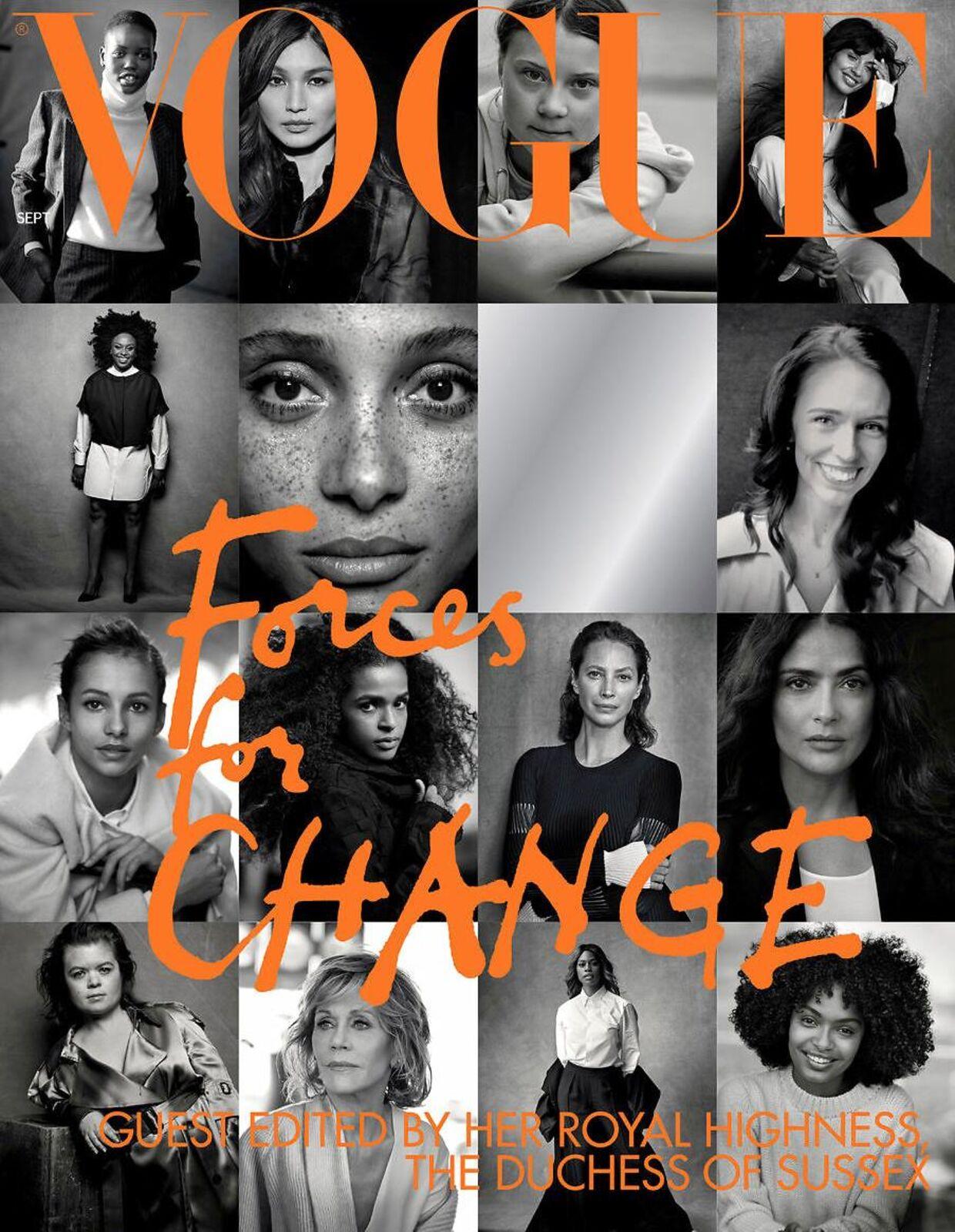 Forsiden af Vogues september-udgave, som hertuinde Meghan har været gæsteredaktør på. Hendes rolle har skabt stor debat om, hvorvidt hun forholder sig politisk neutralt, som det er foreskrevet de royale at gøre.