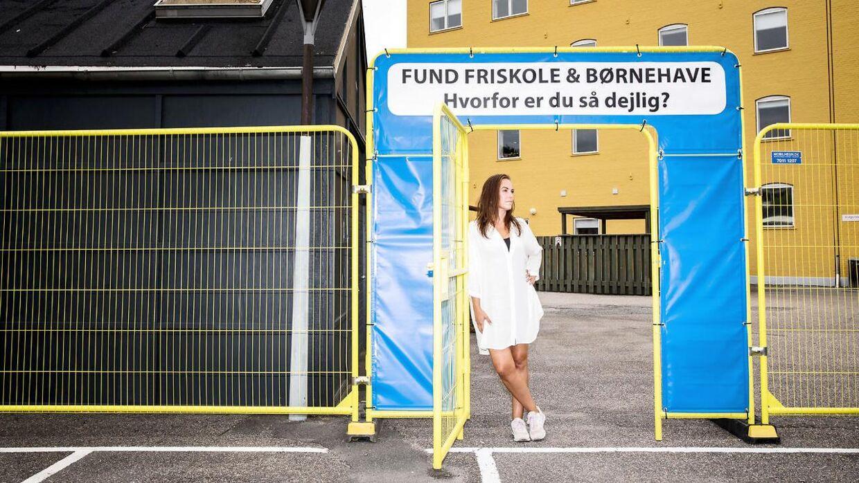 Heidi Lykke Schultz er mor til to drenge, der skal starte på Fund Friskole i Odense. Heidi er formand for skolens bestyrrelse og har været med til at starte skolen op. Her ses hun på friskolen.