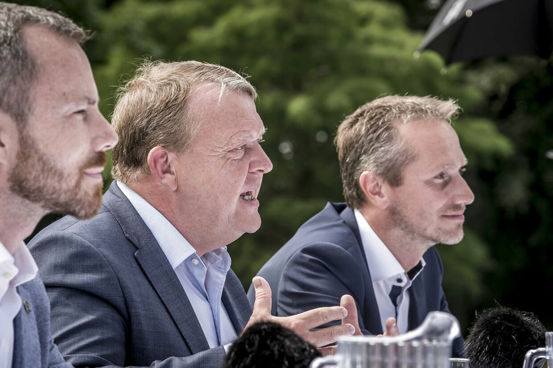 Jakob Ellemann-Jensen, Lars Løkke Rasmussen og Kristian Jensen under Venstres pressemøde i forbindelse med sommergruppemødet.
