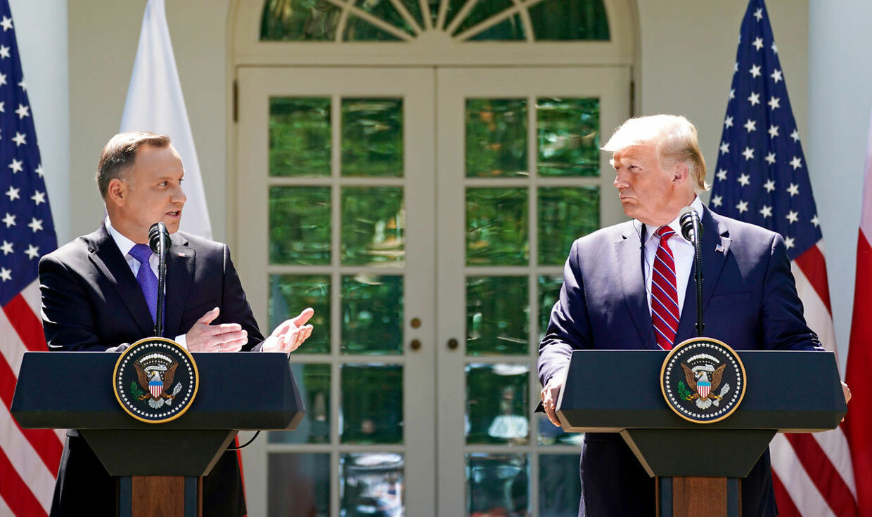 FILE PHOTO: U.S. President Donald Trump and Poland's President Andrzej Duda hold a joint news conference in the Rose Garden at the White House in Washington, U.S., June 12, 2019. REUTERS/Kevin Lamarque/File Photo