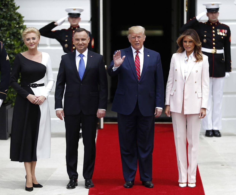 Så ses de igen. Fra venstre er det polens førstedame, Agata Kornhauser-Duda, Præsident Andrzej Duda, Donald J. Trump og USAs førstedame Melania Trump. Foto er fra 12. juni 2019 - i Washington D.C.