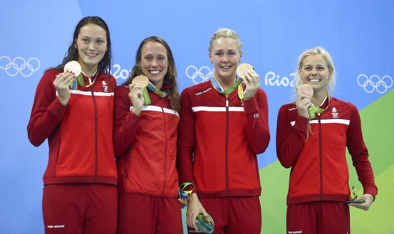 De danske stafetkvinder fra OL i Rio. Fra venstre: Mie Ø. Nielsen, Rikke Møller Pedersen, Jeanette Ottesen og Pernille Blume.