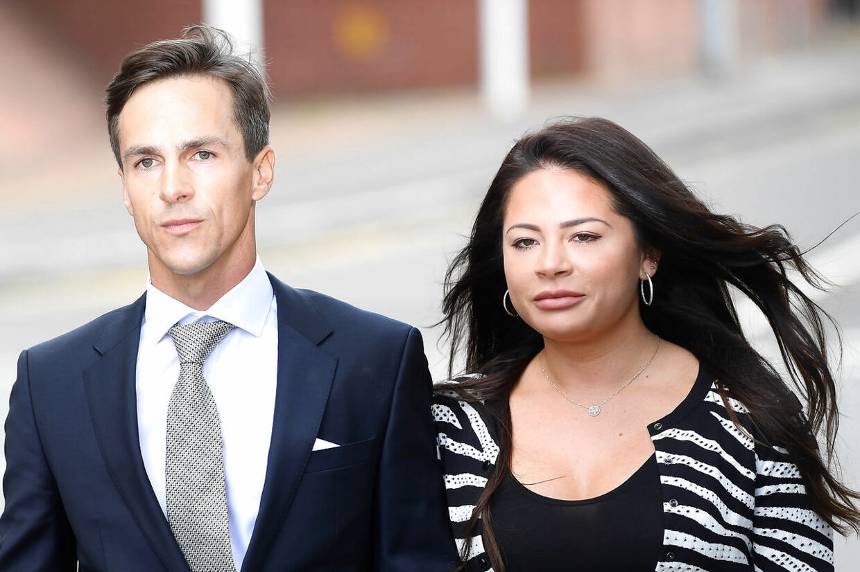 Denmark's Thorbjorn Olesen arrives with a companion at Uxbridge magistrates court in Uxbridge, Britain August 21, 2019. REUTERS/Toby Melville