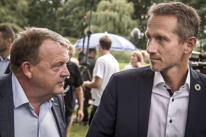 Lars Løkke Rasmussen og Kristian Jensen efter Venstres pressemøde i forbindelse med sommergruppemødet på Kragerup Gods ved Ruds Vedby, fredag den 9. august 2019.