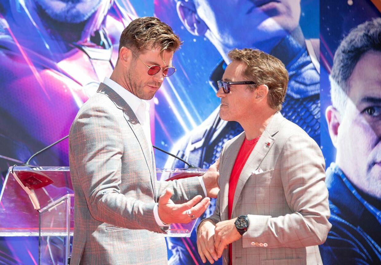 Chris Hemsworth (tv.) og Robert Downey Jr. (th.) er nummer to og tre på listen.