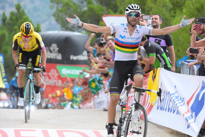 Alejandro Valverde var bedst på de sidste meter af den afsluttende stigning på 7. etape. Jose Jordan/Ritzau Scanpix