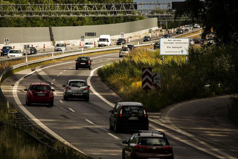 En stribe bilister blev i 2015 dømt i en sag om for høj fart ved vejarbejde på Helsingørmotorvejen i Nordsjælland (her fotograferet under vejarbejdet). Ramsus Flindt Pedersen/POLFOTOarkiv)