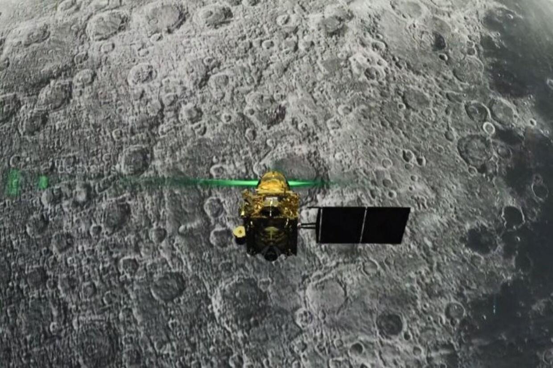 Billedet her viser landingsfartøjet Vikram, kort før det efter planen skulle være landet på Månen fredag aften dansk tid. Handout/Ritzau Scanpix