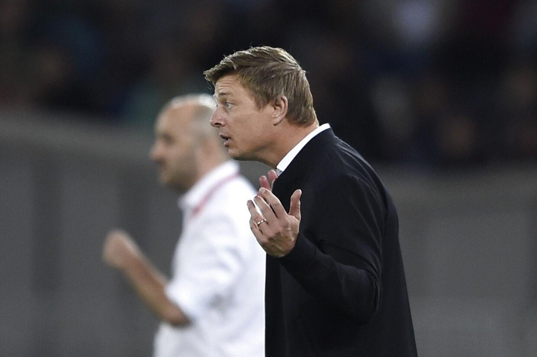 Jon Dahl Tomasson var ikke tilfreds med kreativiteten og antallet af chancer, som det danske hold fik skabt ude mod Georgien. Liselotte Sabroe/Ritzau Scanpix
