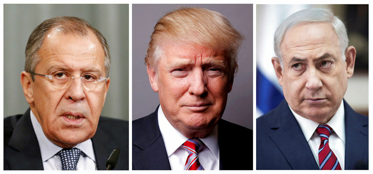 FILE PHOTO: A combination of file photos showing Russian Foreign Minister Sergei Lavrov (L) attending a news conference in Moscow, Russia, November 18, 2015, U.S. President Donald Trump posing for a photo in New York City, U.S., May 17, 2016 and Israeli Prime Minister Benjamin Netanyahu (R) during a cabinet meeting in Jerusalem May 14, 2017. REUTERS/Maxim Zmeyev/Lucas Jackson/Abir Sultan/Pool/File Photo. (Foto: STAFF/Scanpix 2017)