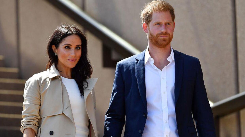(Arkivfoto) Hertug og hertuginde af Sussex, Meghan og harry, da de inden deres søn kom til verden besøgte Australien. SAEED KHAN / AFP