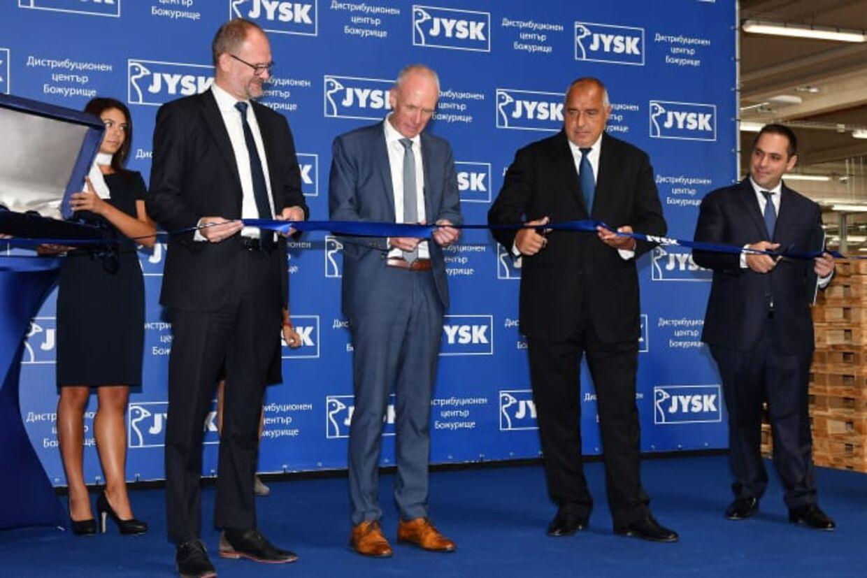 Fra venstre: den danske ambassadør Søren Jacobsen, Jysk-direktør Jan Bøgh, Bulgariens premierminister Boyko Borisov og økonomiminister Emil Karanikolov.