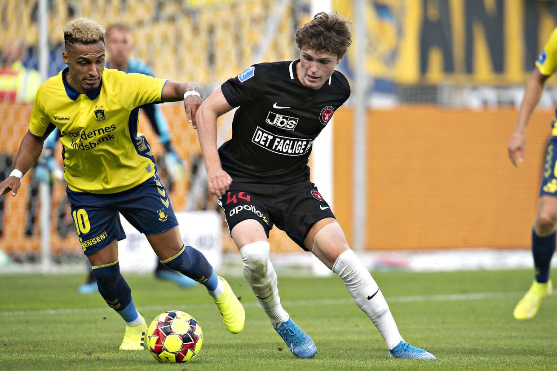 FC Midtjylland vs Brøndby IF. Hany Mukhtar og Nikolas Dyhr. Herning den 1 september 2019.