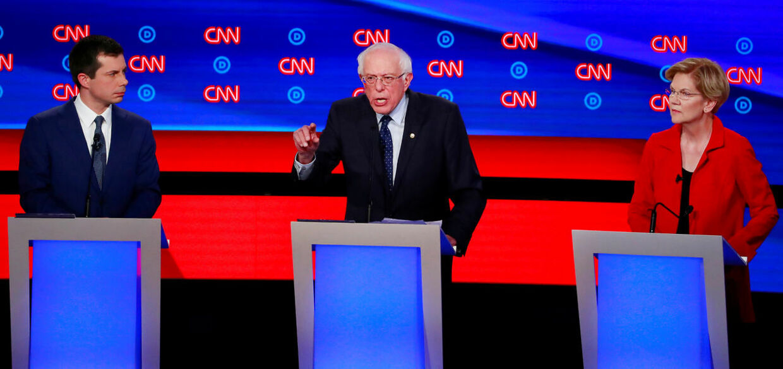 Tv-debat. Fra venstre Pete Buttigieg, Bernie Sanders og Elizabeth Warren.