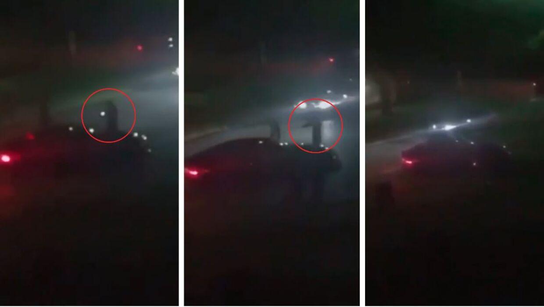 På billederne ses en hætteklædt person affyre skud mod en parkeret bil. Det vides endnu ikke, om videoen stammer fra skyderiet i Ishøj søndag aften, hvor en person blev dræbt.